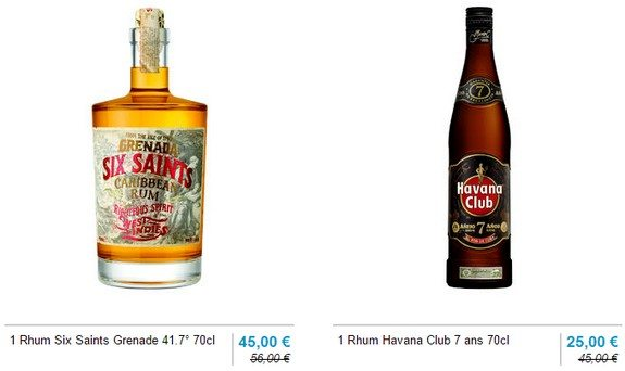 rhums antilles six saints grenade havana club 7 ans