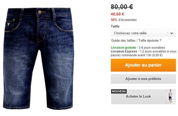 short en jean bleu guess