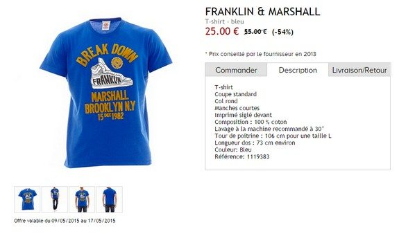 t shirt bleu franklin marshall