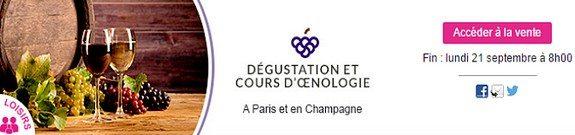 vente privee degustation et cours oenologie paris et champagne