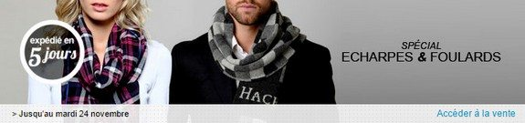 vente privee foulards echarpes homme femme