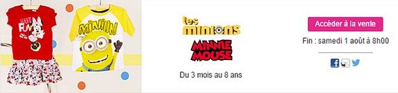 vente privee mode enfant minions minnie