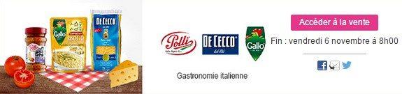 vente privee nourriture gastronomie italienne